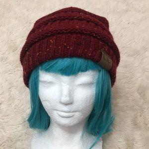 C.C. Red speckled stocking cap